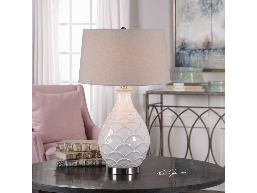 Uttermost Table LampsCamellia Glossed White Table Lamp