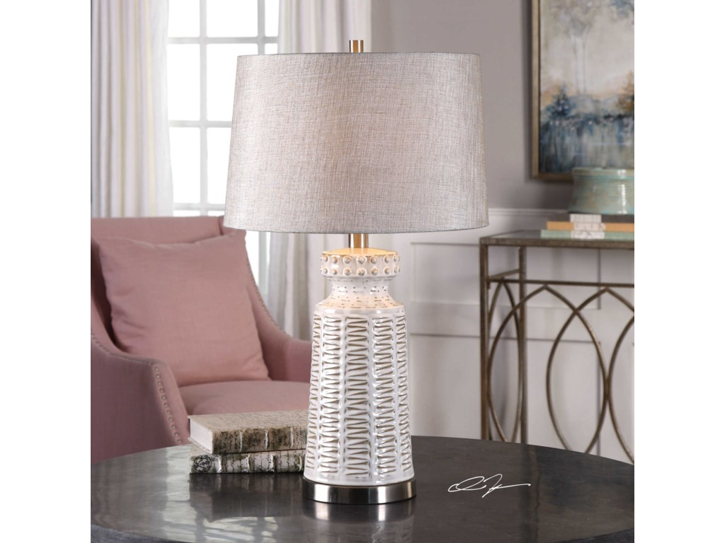 Uttermost Table LampsKansa Distressed White Table Lamp