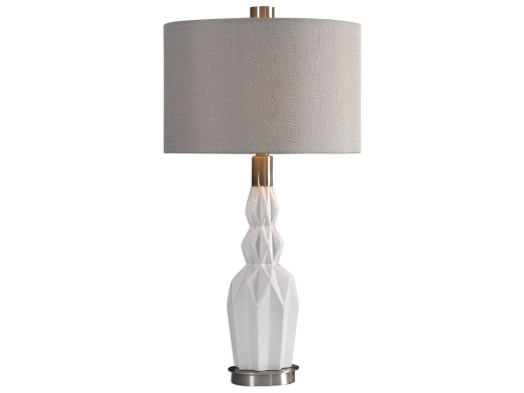 Uttermost Table LampsCabret Gloss White Ceramic Table Lamp