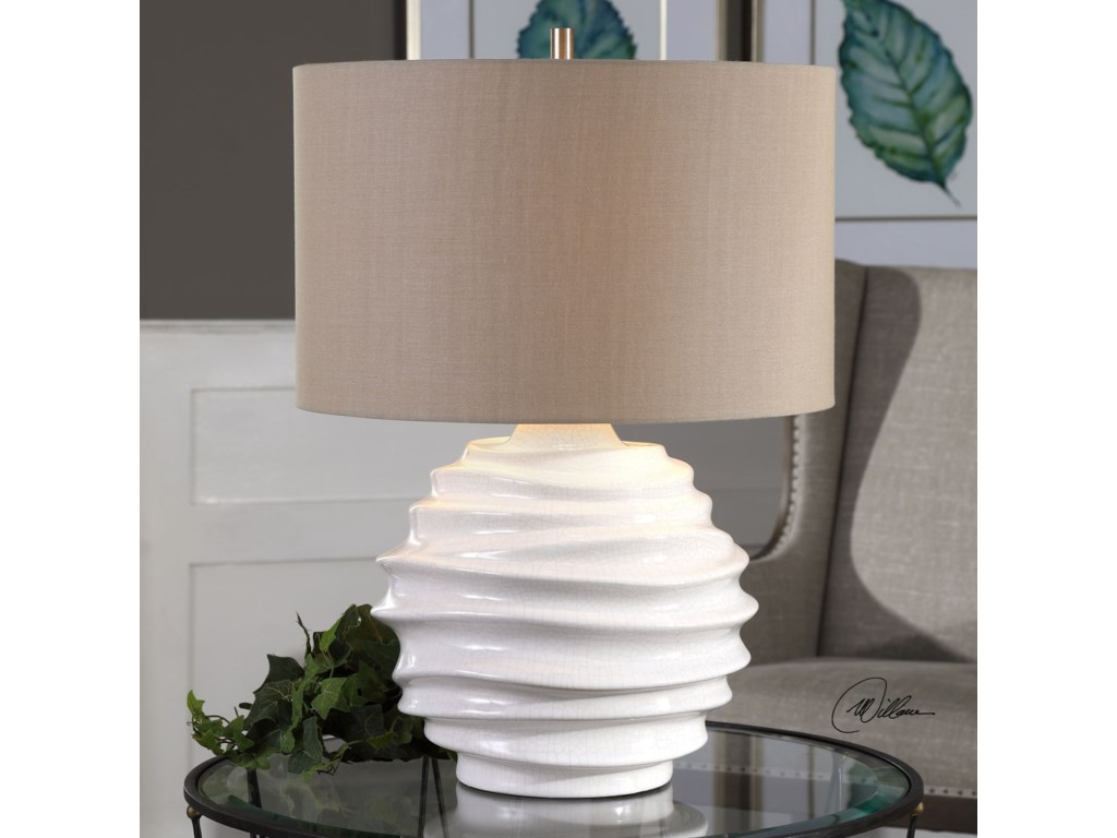 Uttermost Table LampsGisasa Crackled White Lamp