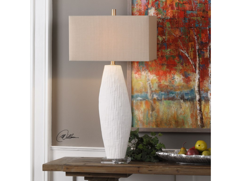 Uttermost Table LampsVona Textured White Lamp