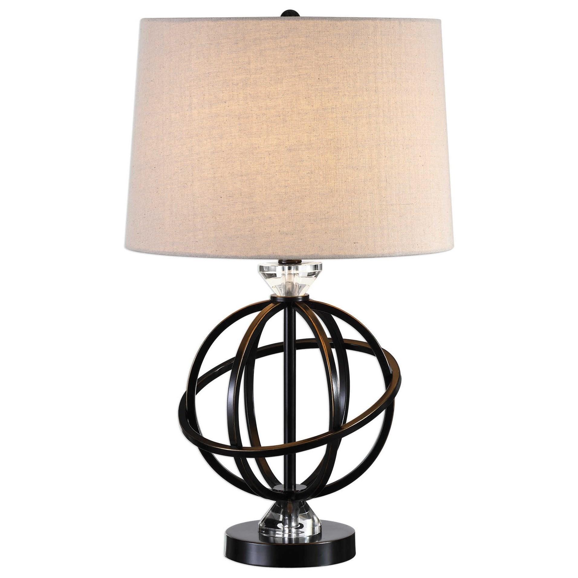 NEW BLACK GLOSS TABLE LAMP WITH HANGING CRYSTALS AND BLACK RIBBED SHADE,