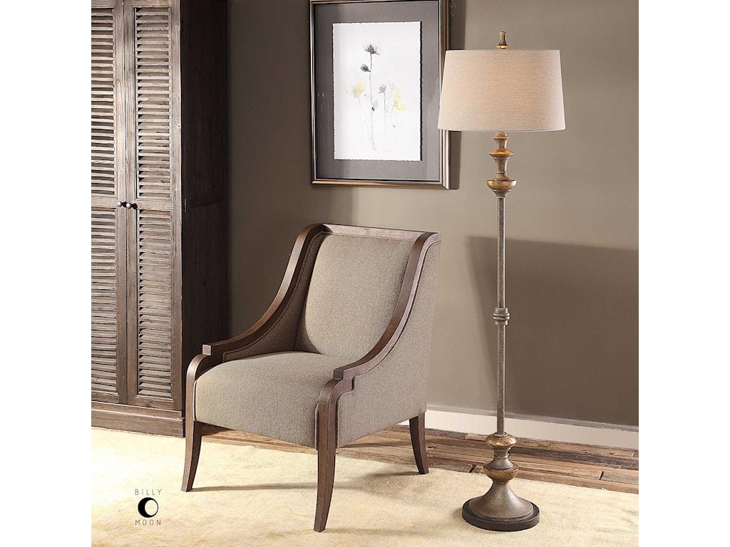 Uttermost Floor LampsVetralla Silver Bronze Floor Lamp