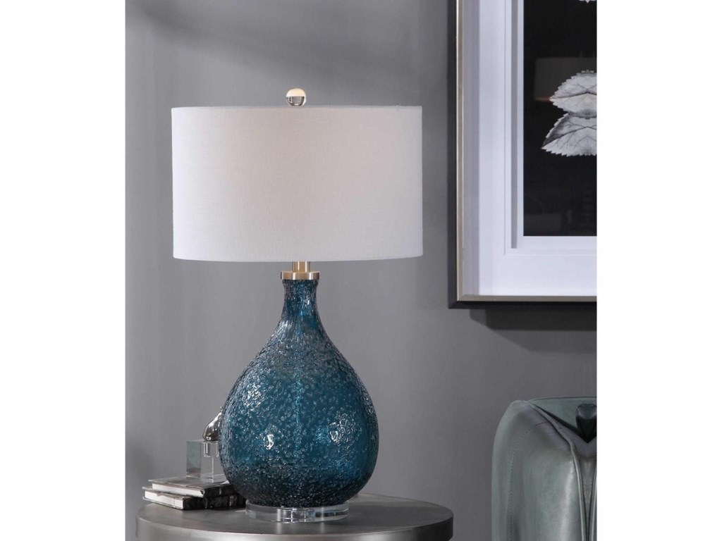 Uttermost Table LampsEline Blue Glass Table Lamp