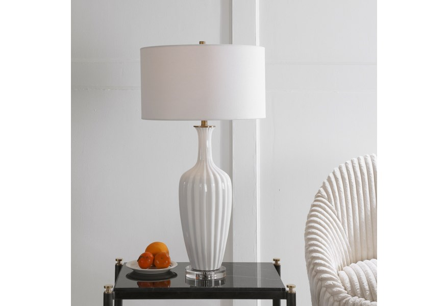 Uttermost Table Lamps 28374 1 Strauss White Ceramic Table Lamp Upper Room Home Furnishings Table Lamps