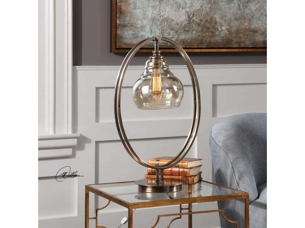 Uttermost Accent LampsElliptical Brass Edison Bulb Lamp