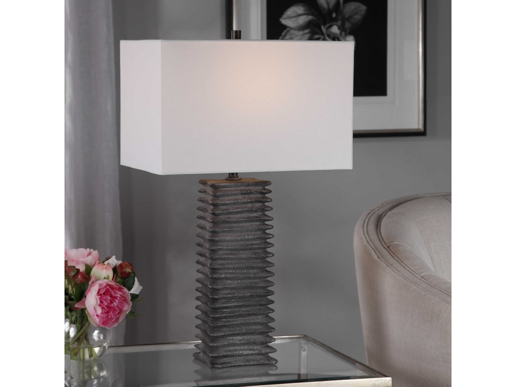 Uttermost Table LampsSanderson Metallic Charcoal Table Lamp