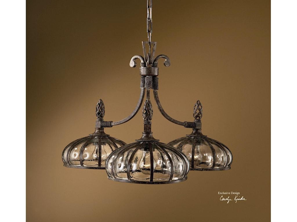 Uttermost lighting fixturesgaleana 3 light chandelier
