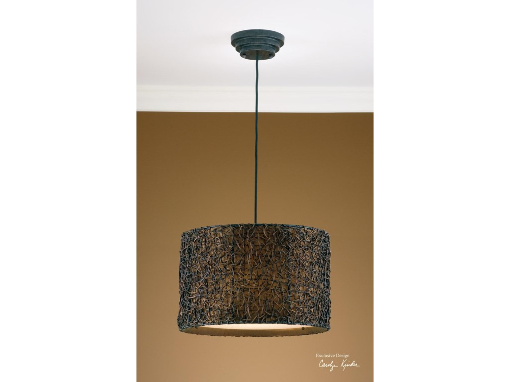Uttermost lighting fixtures pendant lightsknotted rattan hanging shade