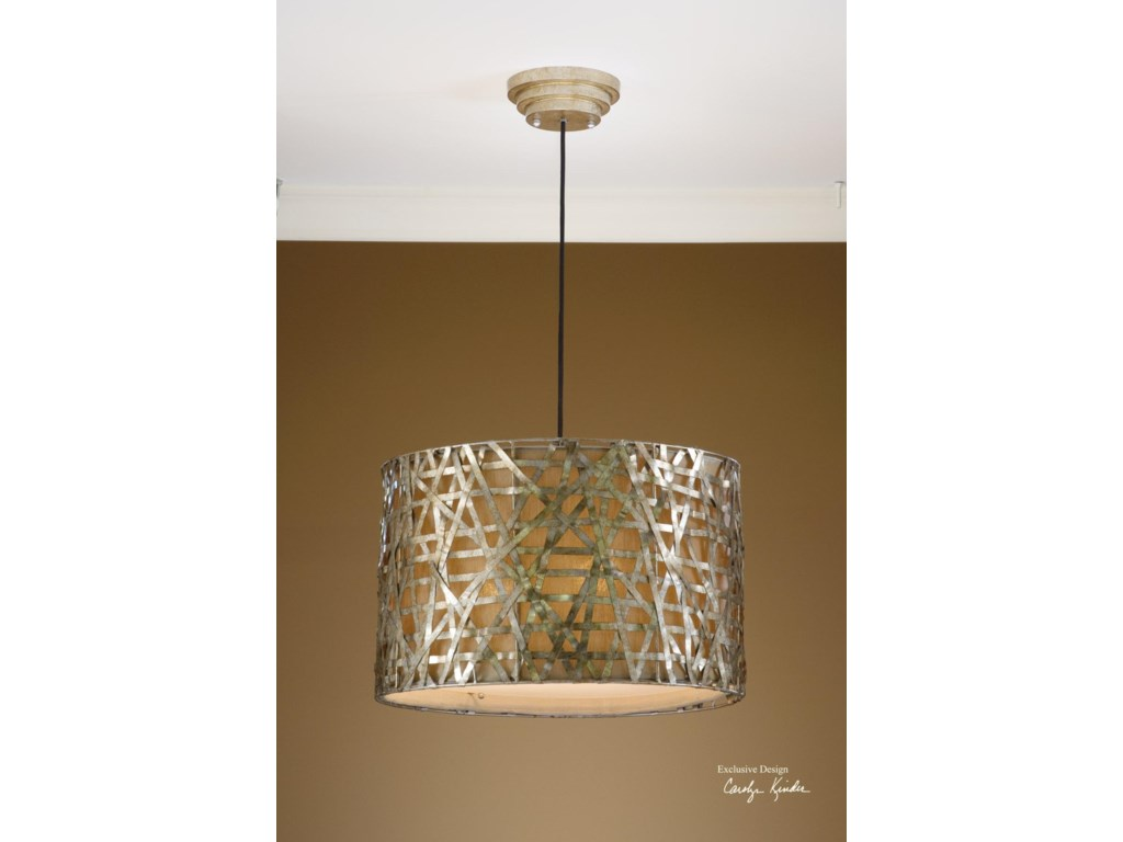 Uttermost lighting fixtures pendant lightsalita champagne metal hanging shade