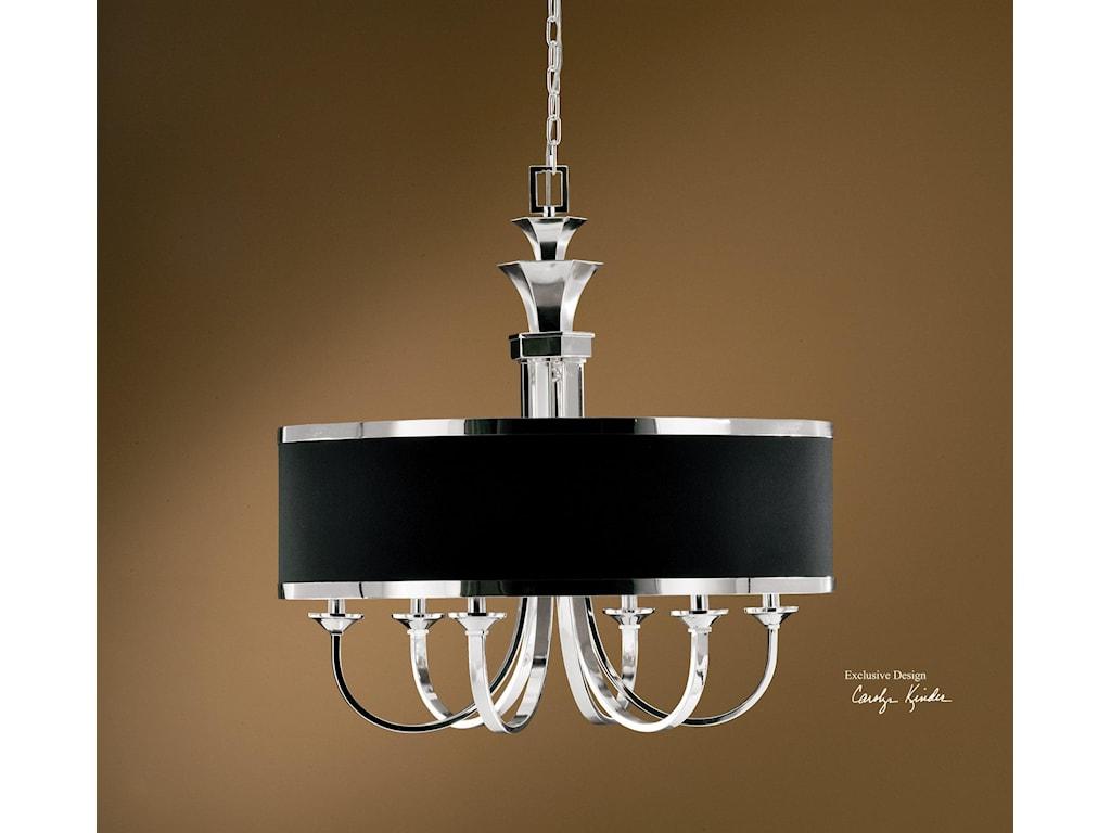 Uttermost lighting fixturestuxedo 6 light single shade chandelier