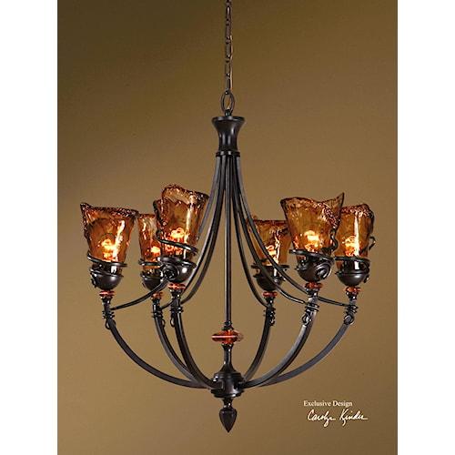 Uttermost Lighting Fixtures Vitalia 6 Light Chandelier