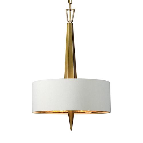 Uttermost Lighting Fixtures Obeliska 3 Light Gold Chandelier