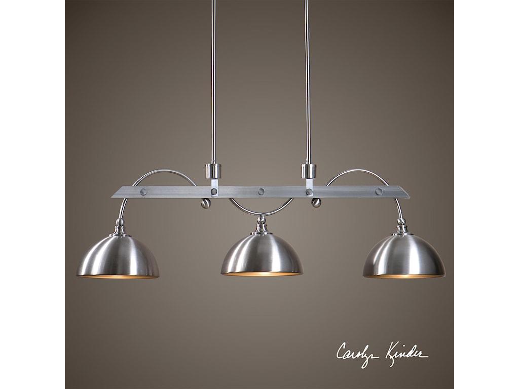 Uttermost Lighting Fixtures - Pendant LightsMalcolm 3 Light Nickel Industrial Island Lig