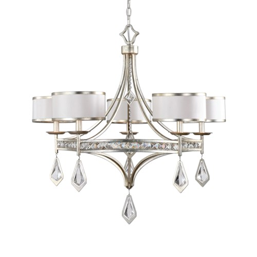 Uttermost Lighting Fixtures Tamworth 5 Light Silver Champagne Chandelier