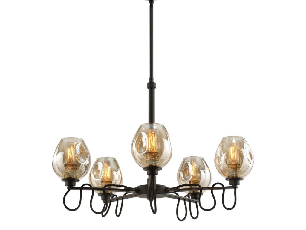 Uttermost lighting fixturesfritz 5 light gold glass chandelier