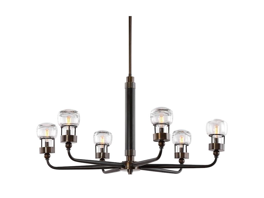 Uttermost Lighting Fixtures Graham 6 Light Bronze Chandelier Ad Furniture Pendant Lights Chandeliers