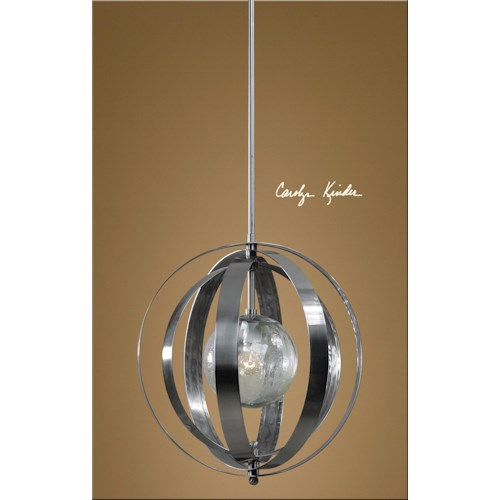uttermost lighting fixtures 21938 trofarello silver 1 light pendant