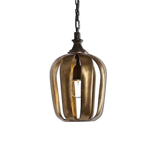 Uttermost Lighting Fixtures Zucca 1 Light Antique Gold Mini Pendant