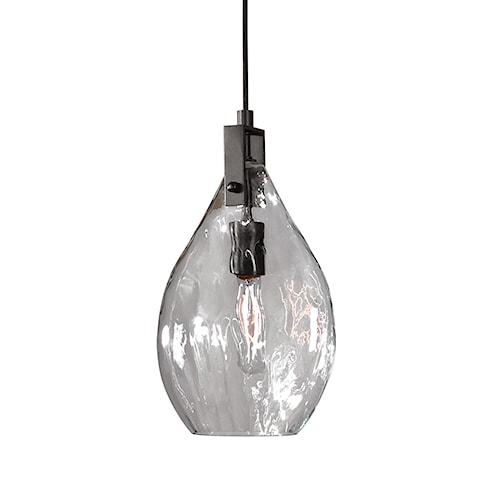 Uttermost Lighting Fixtures Campester 1 Light Watered Glass Mini Pendant