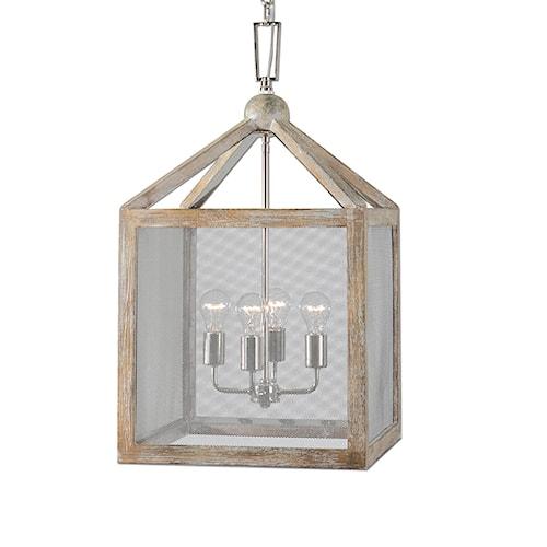 Uttermost Lighting Fixtures Nashua 4 Light Wooden Lantern Pendant