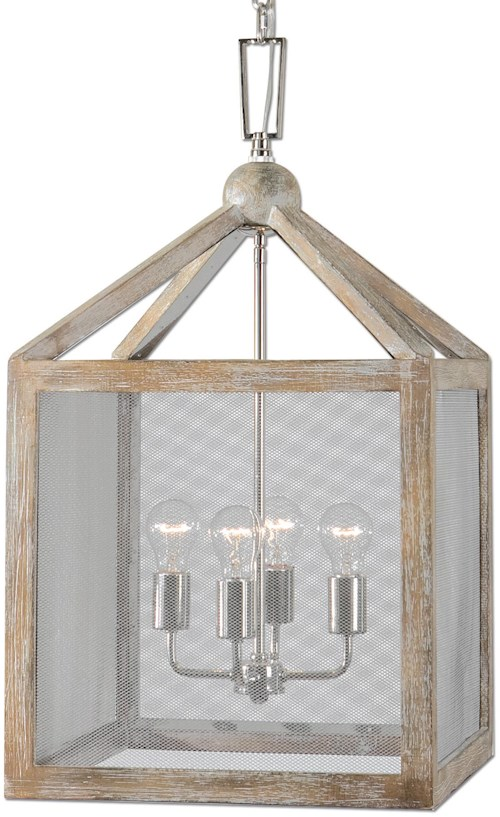 Uttermost Lighting Fixtures Nashua 4 Light Wooden Lantern Pendant