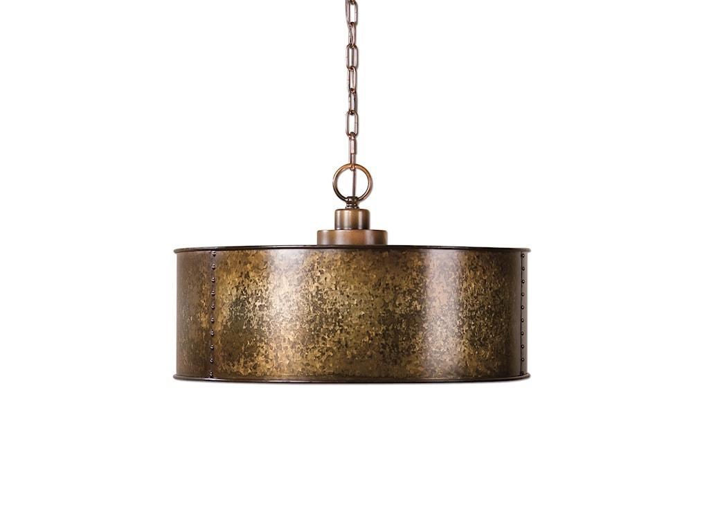 Uttermost Lighting Fixtures 22066 Wolcott 3 Light Golden Pendant Hudson S Furniture Chandelier