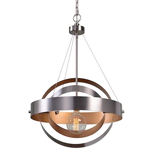 Uttermost Lighting Fixtures Anello 1 Light Brushed Nickel Pendant