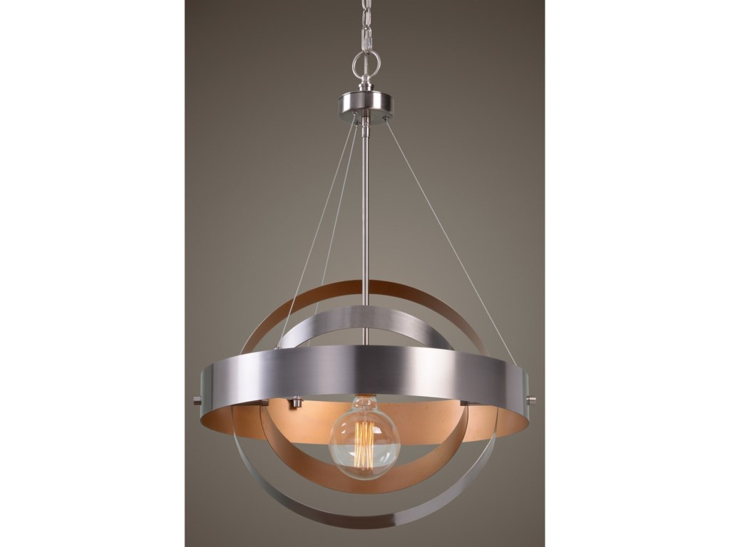 Uttermost Lighting Fixturesanello 1 Light Brushed Nickel Pendant
