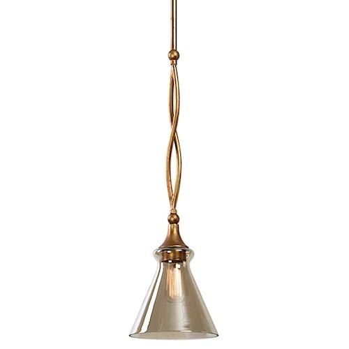 Uttermost Lighting Fixtures Glam 1 Light Gold Mini Pendant Bullard Furniture Lights Chandeliers Fayetteville Nc
