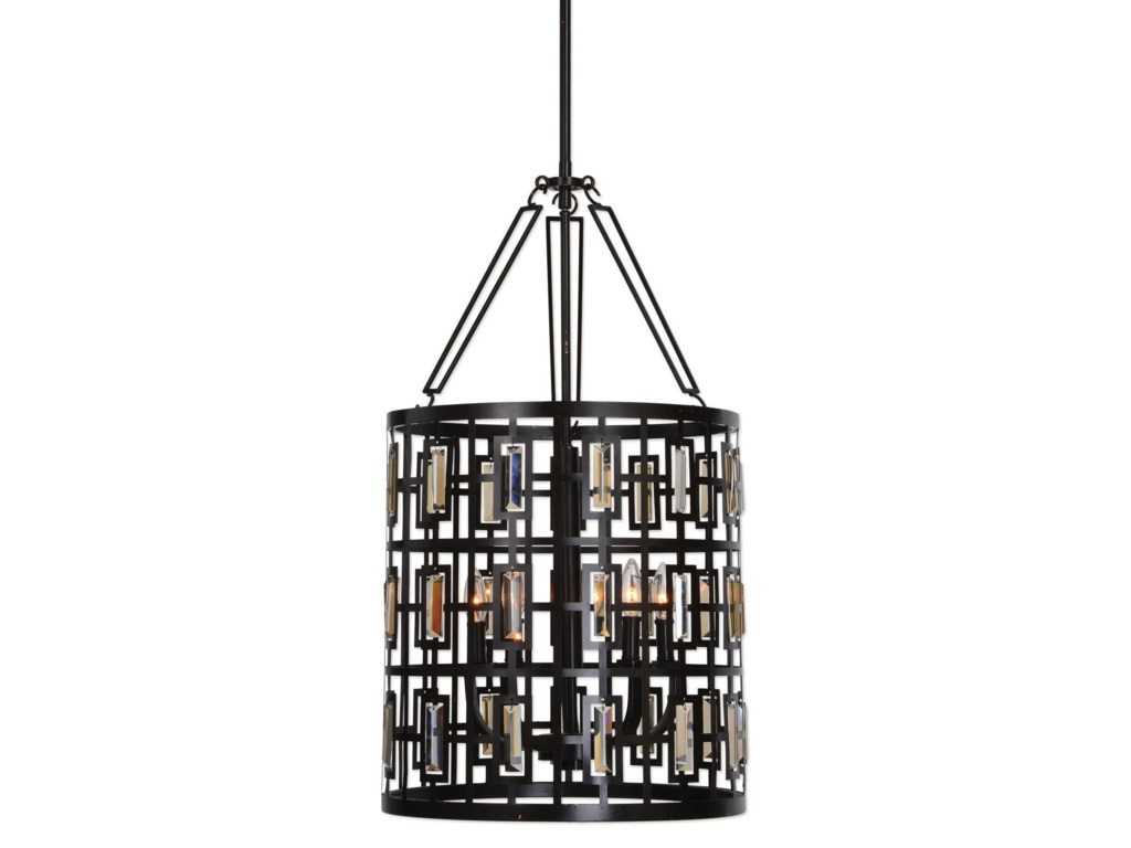 Uttermost lighting fixtures pendant lightsrhombus 5 light lantern bronze pendant