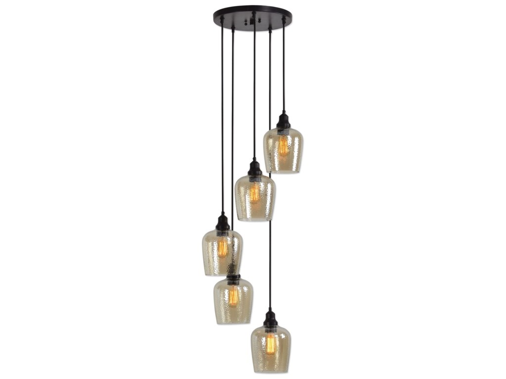 Uttermost lighting fixtures pendant lightsaarush 5 light glass cluster pendant