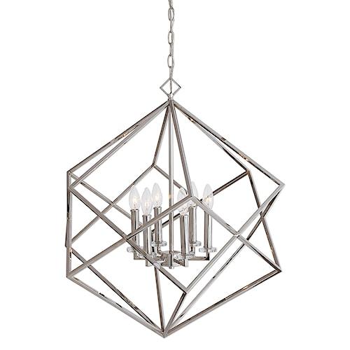 Uttermost Lighting Fixtures Euclid 6 Light Nickel Cube Pendant