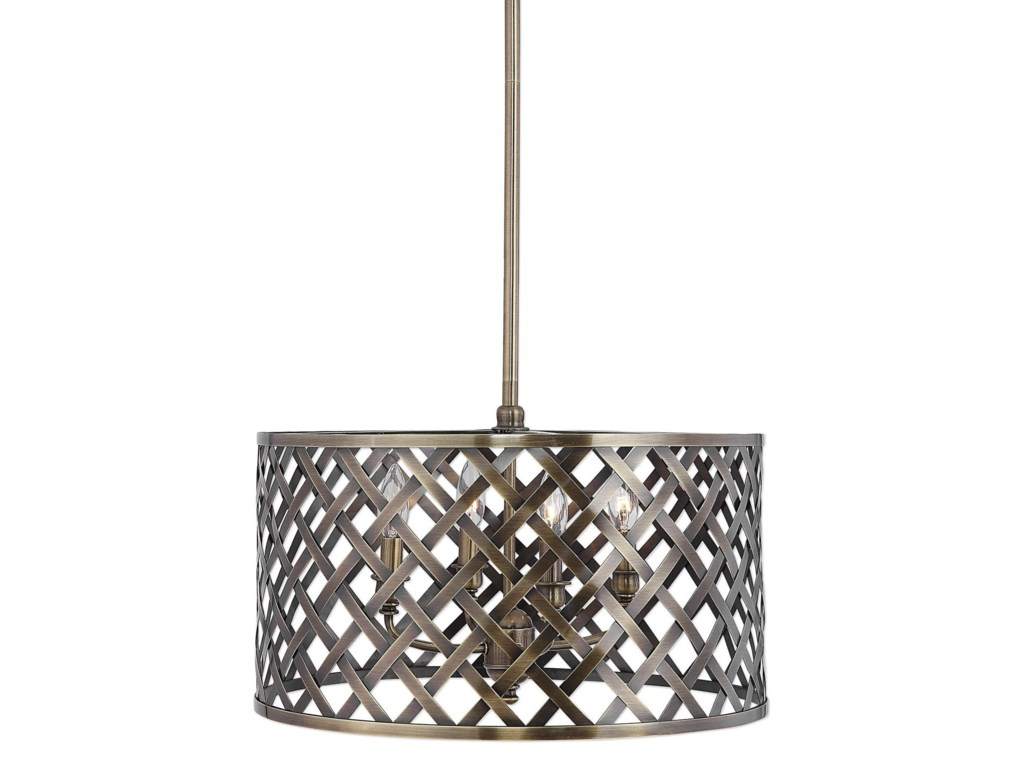 Uttermost lighting fixtures pendant lightsgrata 4 light brass latticework pendant