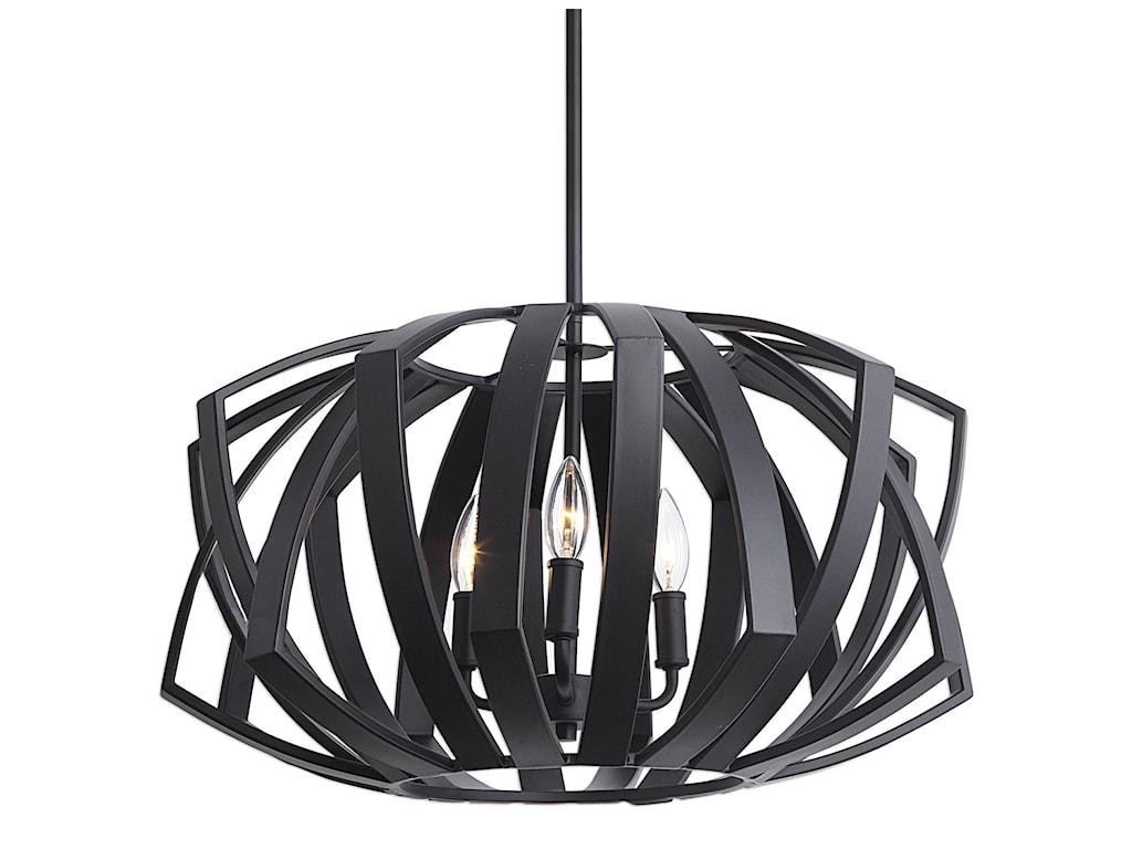 Uttermost Lighting Fixtures - Pendant LightsThales Black Geometric 3 Light Pen