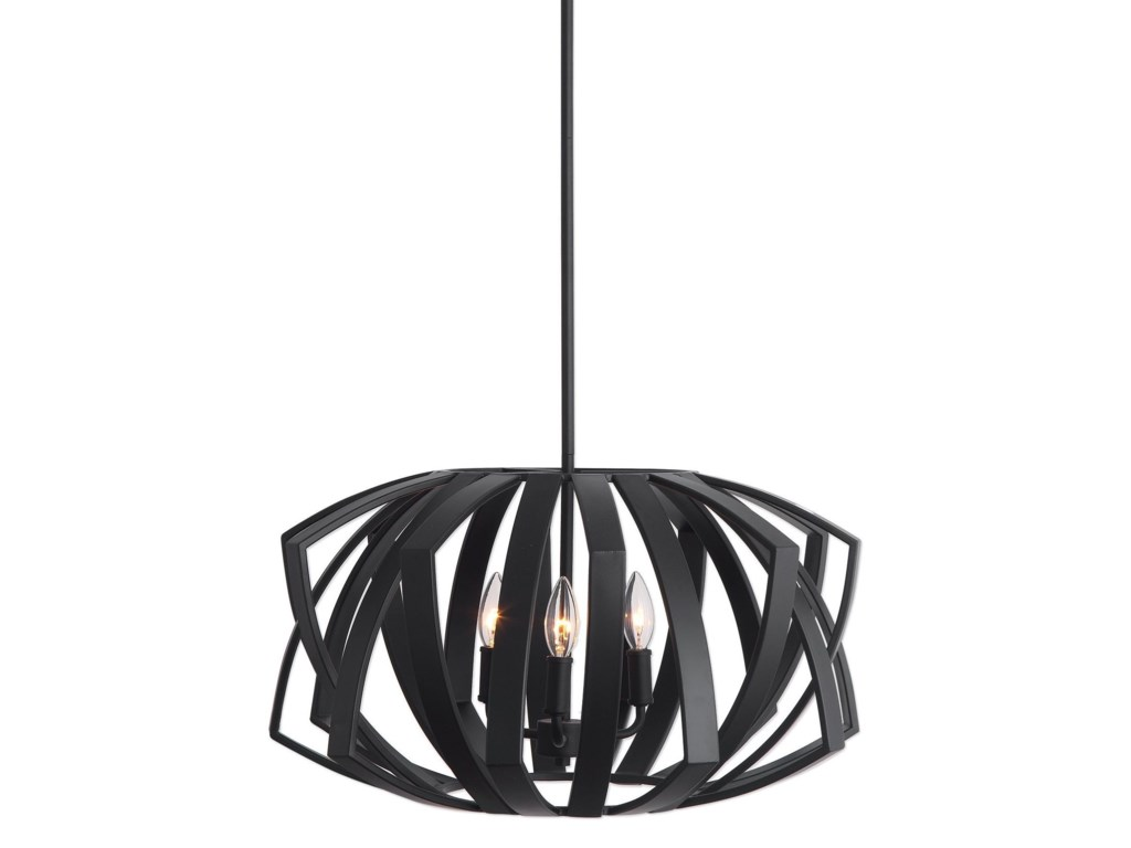 Uttermost lighting fixtures pendant lightsthales black geometric 3 light pen