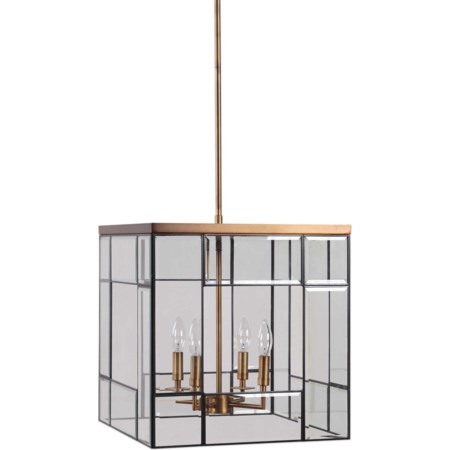 Romilly 4 Light Antique Brass Pendant