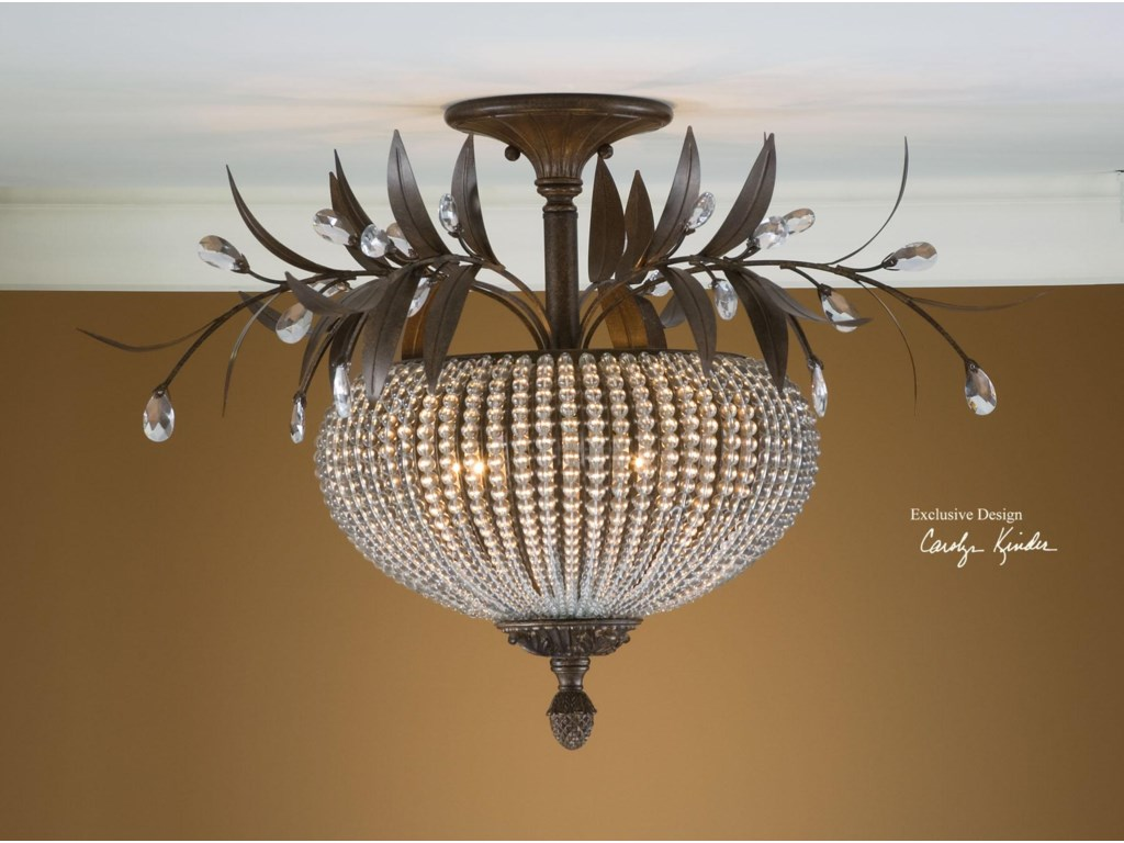 Lighting fixtures pendant lights cristal de lisbon semi flush mount by uttermost