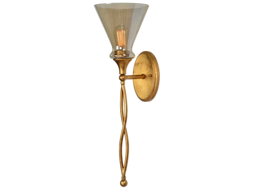 Lighting fixtures wall sconces glam 1 light gold sconce by uttermost at dunk bright furniture