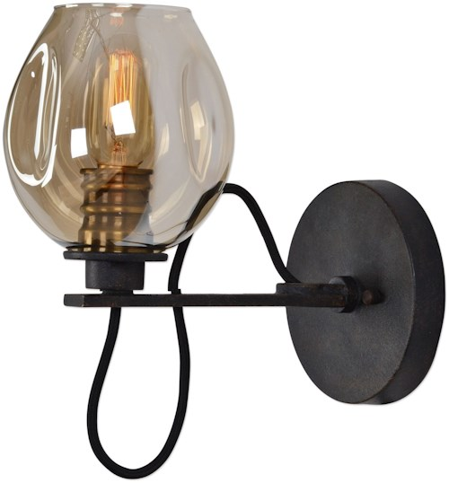 Uttermost Lighting Fixtures Fritz 1 Light Gold Glass Sconce