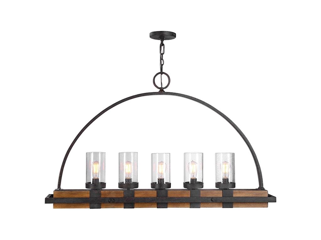 Uttermost lighting fixtures chandeliers atwood 5 lt island