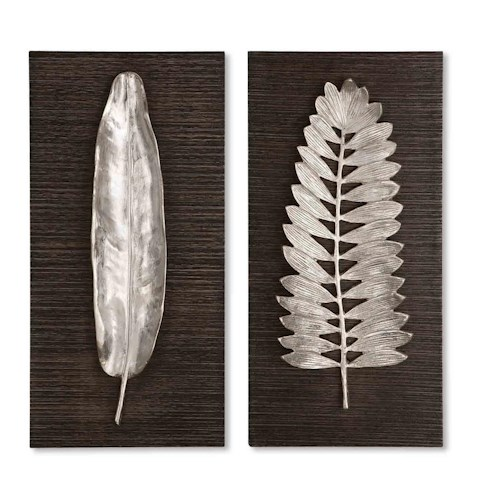 Uttermost Alternative Wall Decor Silver Leaves Set of 2