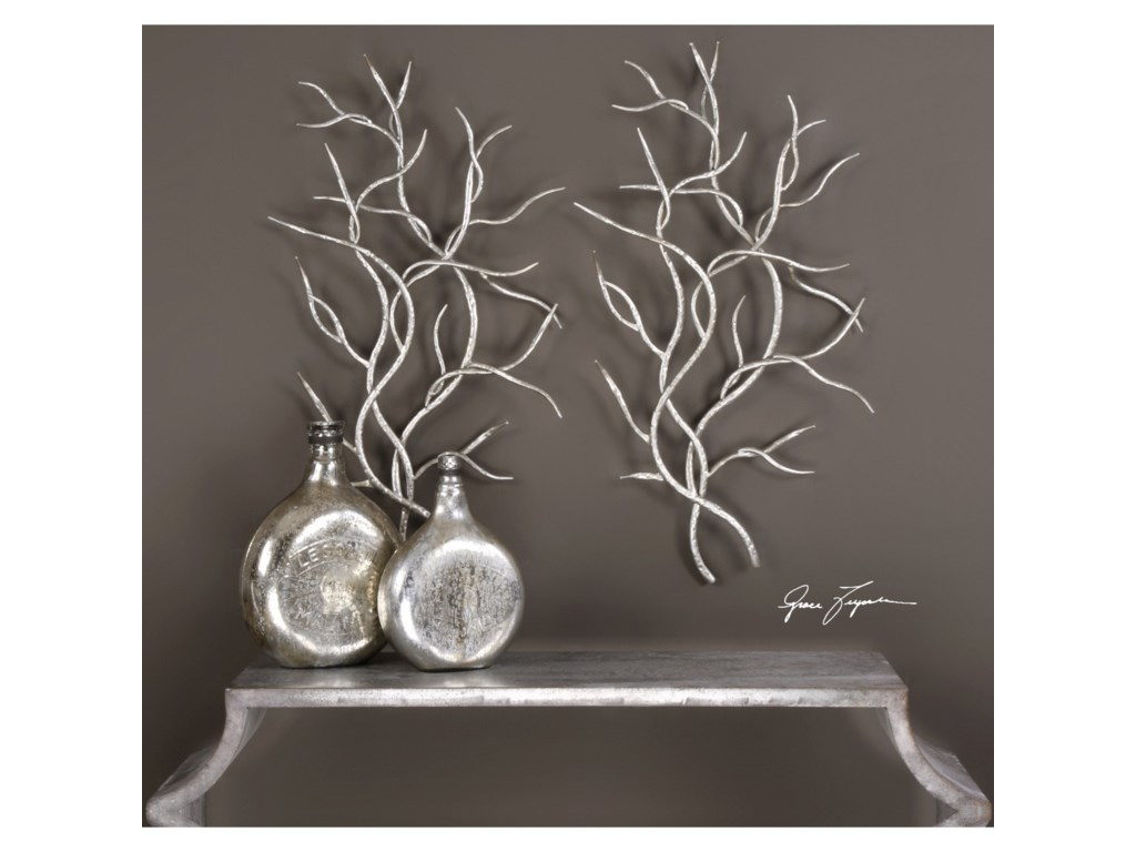 Uttermost Alternative Wall Decor 04053 Silver Branches (Set of 2 ...