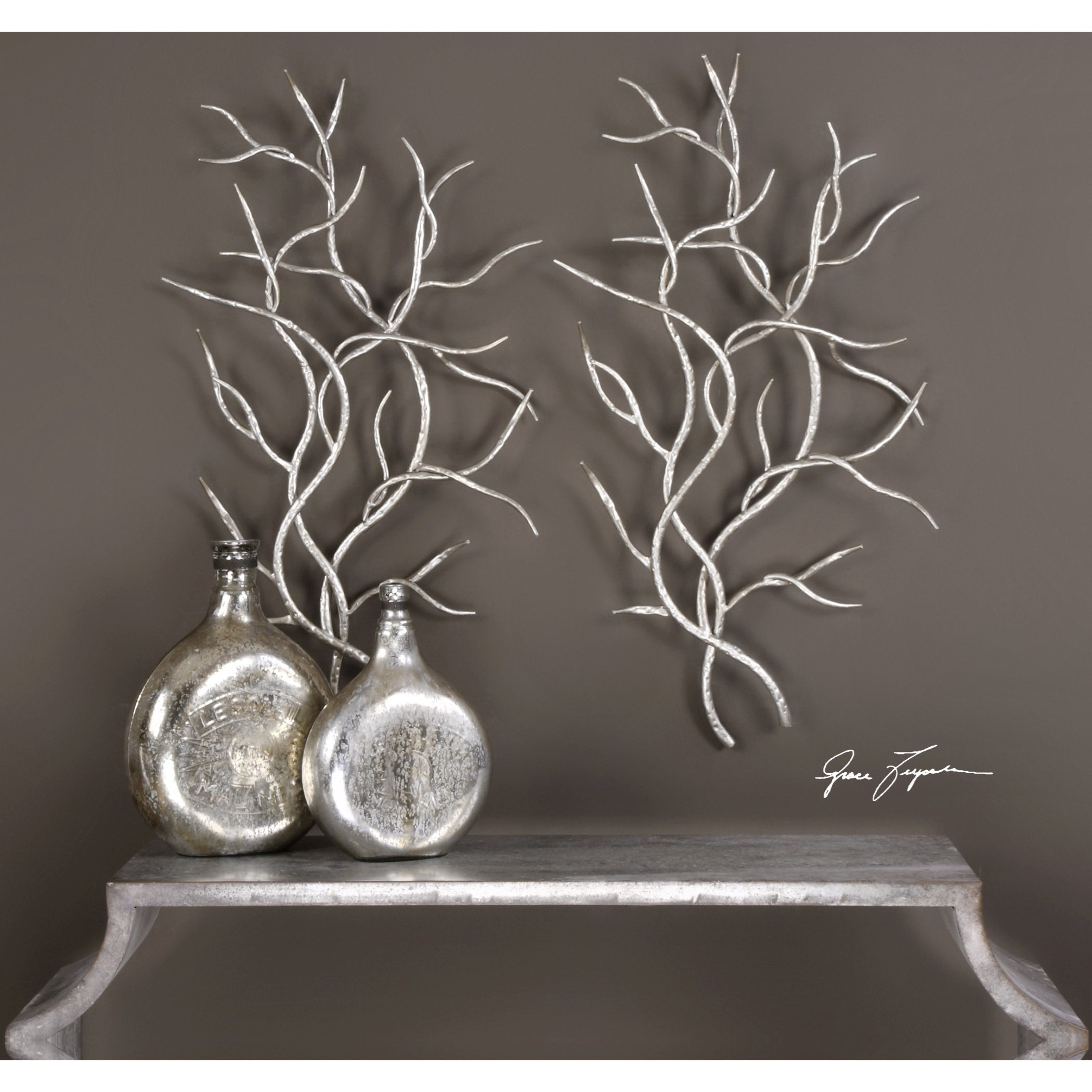 Beau Uttermost Alternative Wall Decor Silver Branches (Set Of 2)