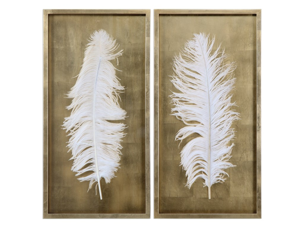 Uttermost Alternative Wall DecorWhite Feathers (Set of 2)