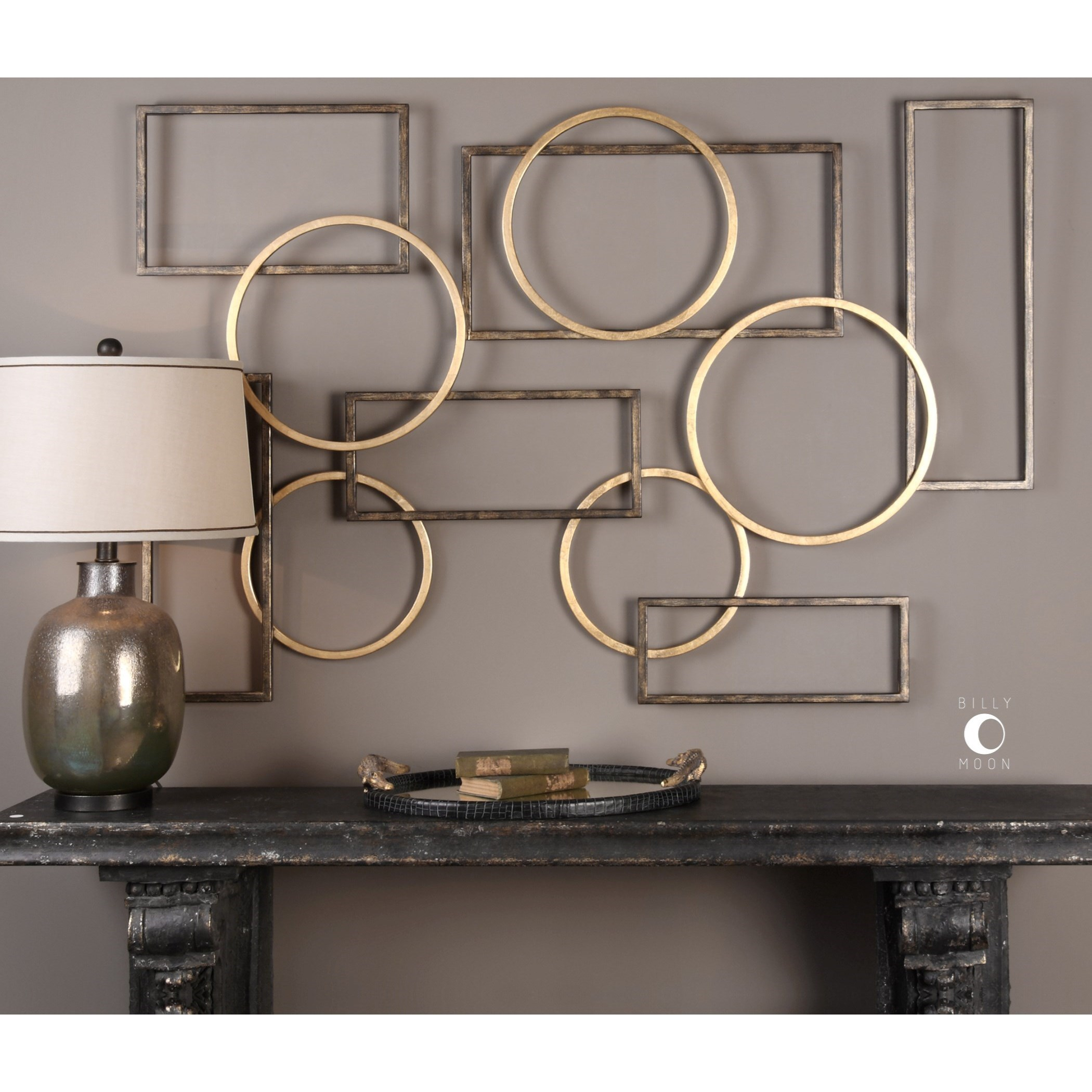 Three New Decorative Aged Bronze Copper Ribbed Metal Round Wall Art Rustic Style