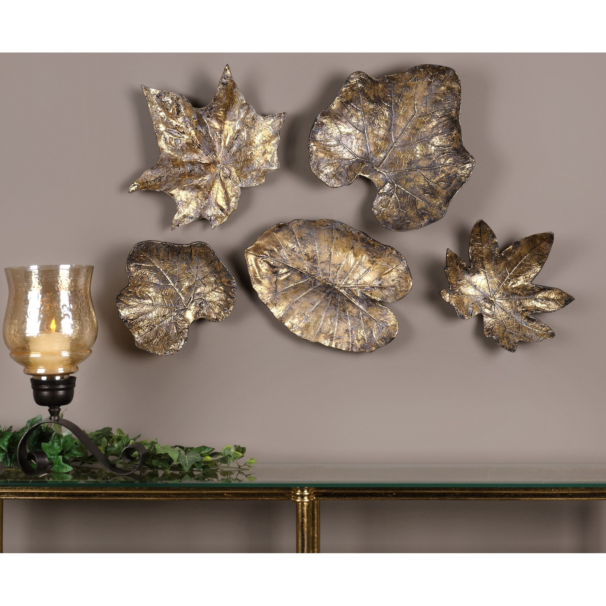 ... Uttermost Alternative Wall Decor Bronze Leaves Wall Art (Set Of 5)