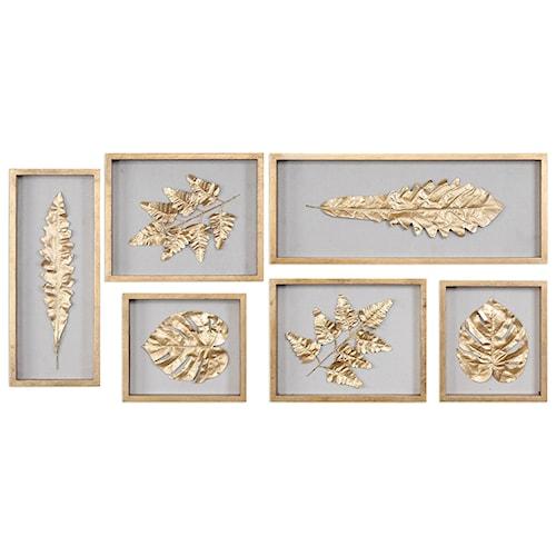 Uttermost Alternative Wall Decor  Golden Leaves Shadow Box (Set of 6)