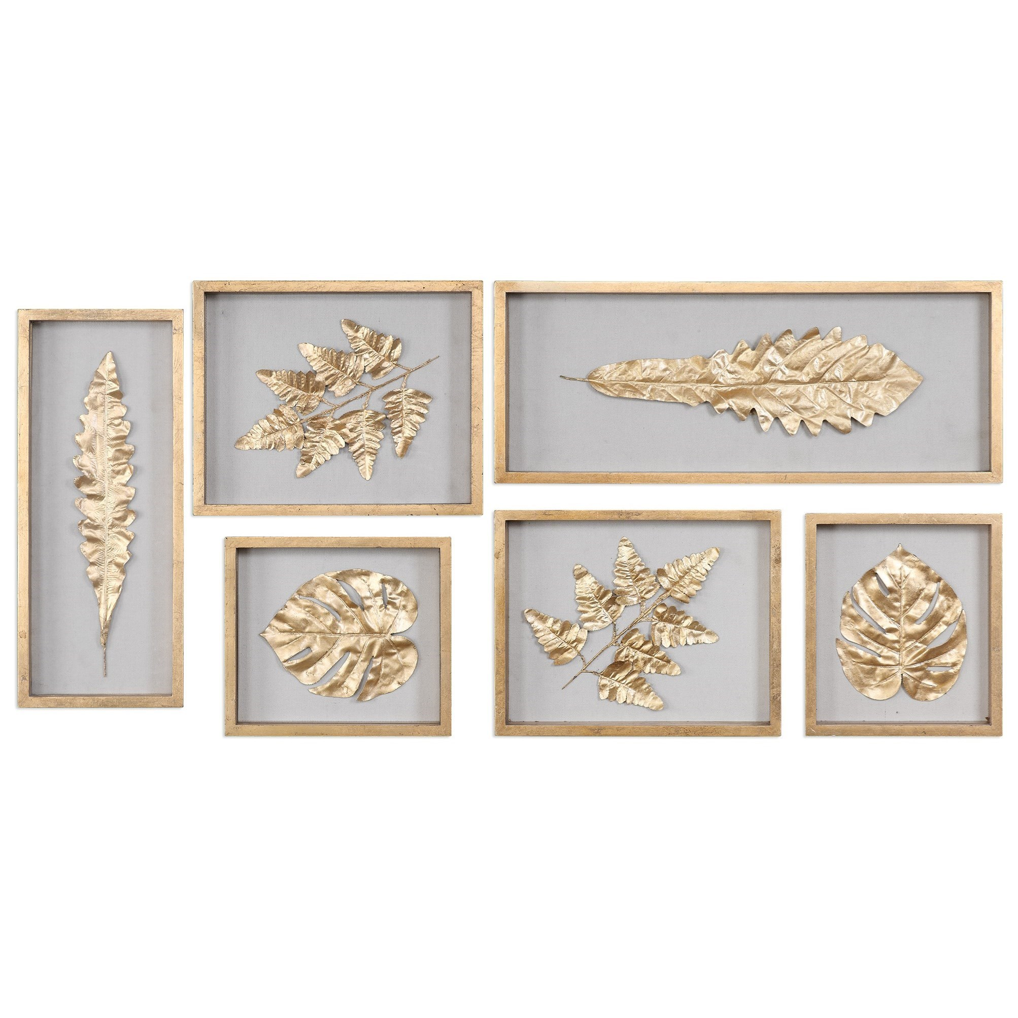 Uttermost Alternative Wall Decor Golden Leaves Shadow Box (Set Of 6) ...