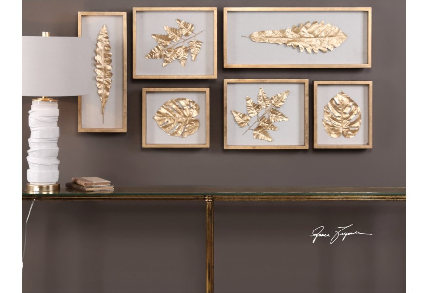 Alternative Wall Decor Golden Leaves Shadow Box Set Of 6 By Uttermost At Hudson S Furniture